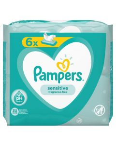 Pampers Sensitive, vlažne maramice, 6x52 komada
