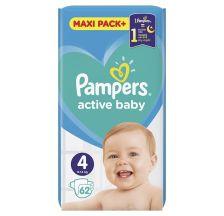 Pampers Active Baby JPM pelene, veličina 4 (9-14 kg), 62 komada