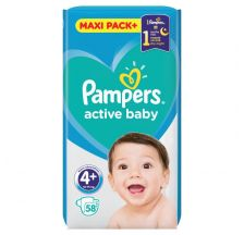 Pampers Active Baby JPM pelene, veličina 4+ (10-15 kg), 58 komada